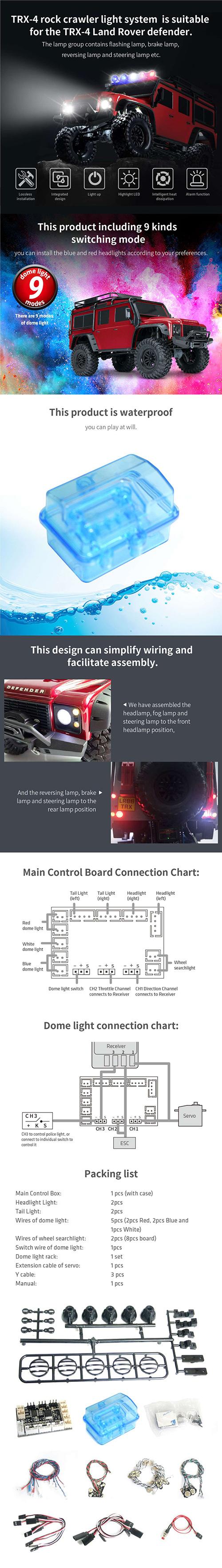 G.T. Power LED Light System Set For Traxxas TRX-4 Defender #GTP-145
