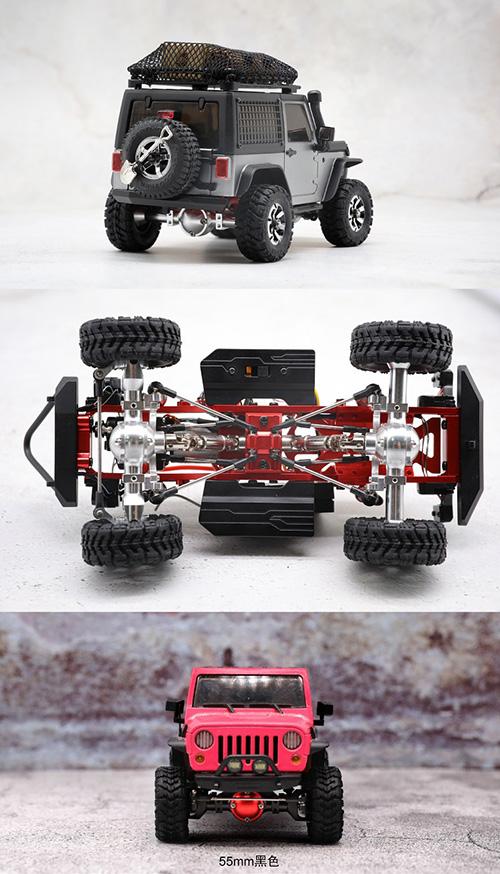 Orlandoo 1/35 1/32 Jeep Rubicon Aluminum 55mm Front Rear Axle Set Black #MA2-550-B